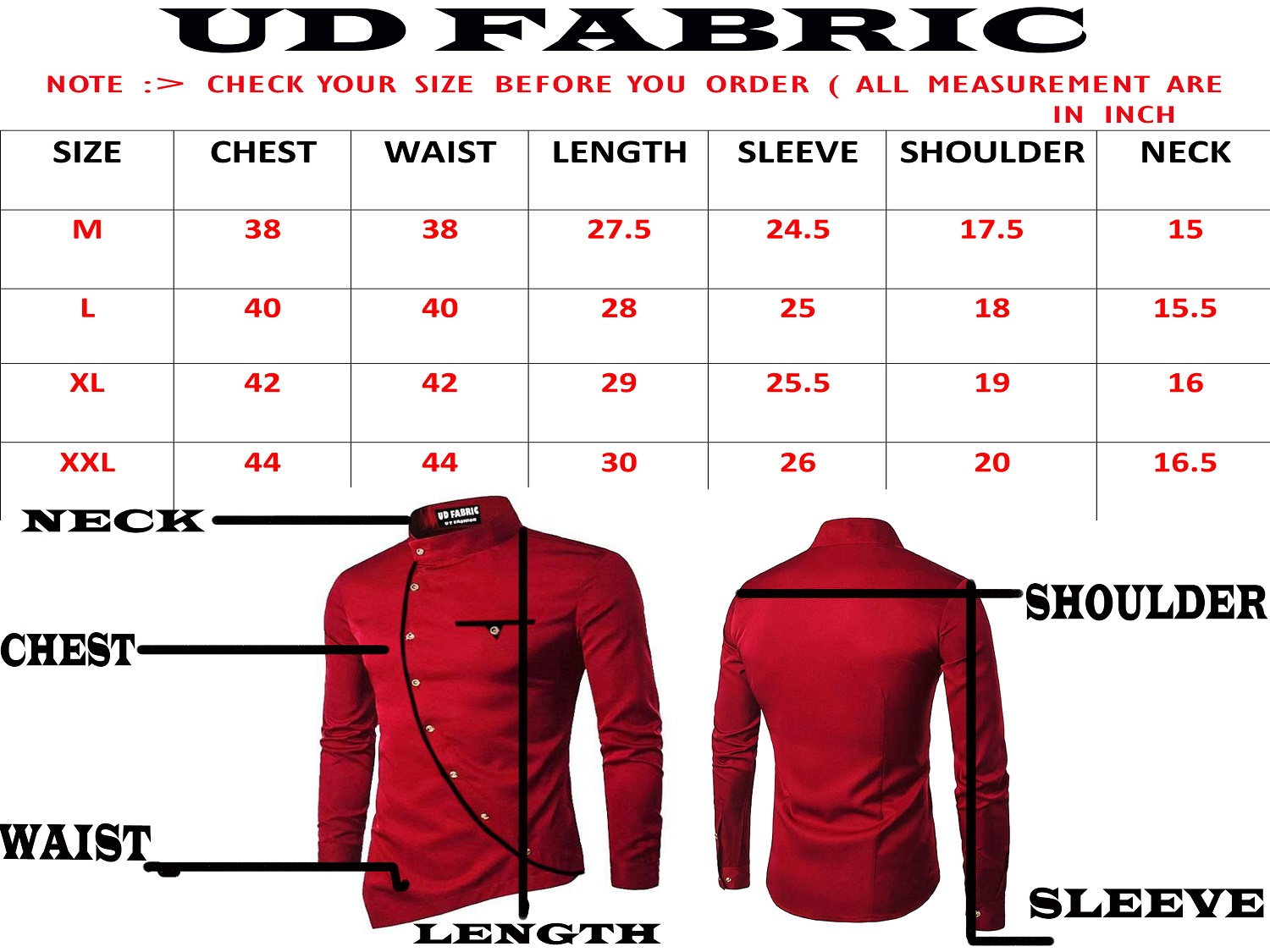 Men's Shirts Size Chart